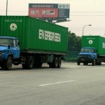 Container trucks causes traffic jam at Yantian Port